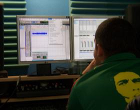 Stephan & James Recording The Script Keeper at Limestone Studios